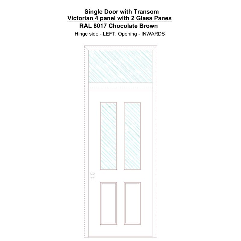 Sdt Victorian 4 Panel With 2 Glass Panes Ral 8017 Chocolate Brown Security Door