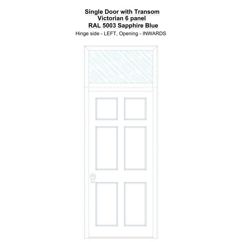Sdt Victorian 6 Panel Ral 5003 Sapphire Blue Security Door