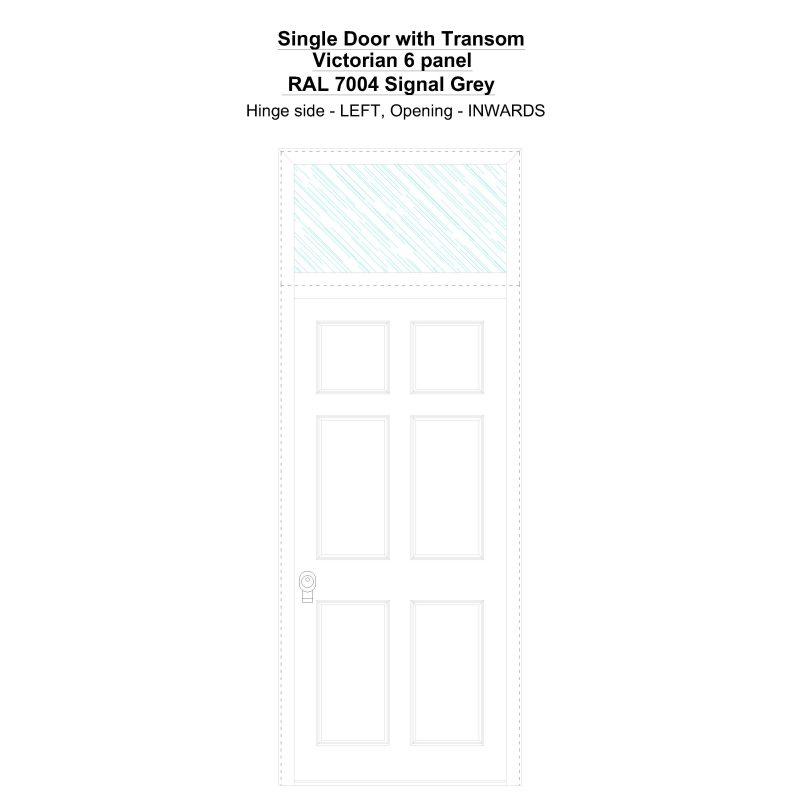 Sdt Victorian 6 Panel Ral 7004 Signal Grey Security Door