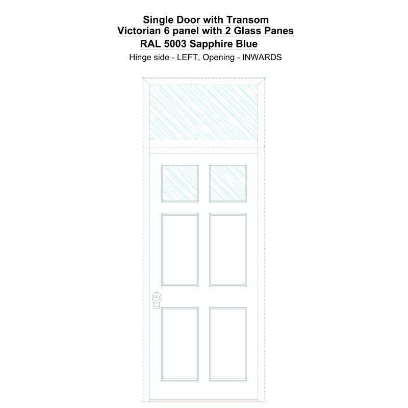 Sdt Victorian 6 Panel With 2 Glass Panes Ral 5003 Sapphire Blue Security Door