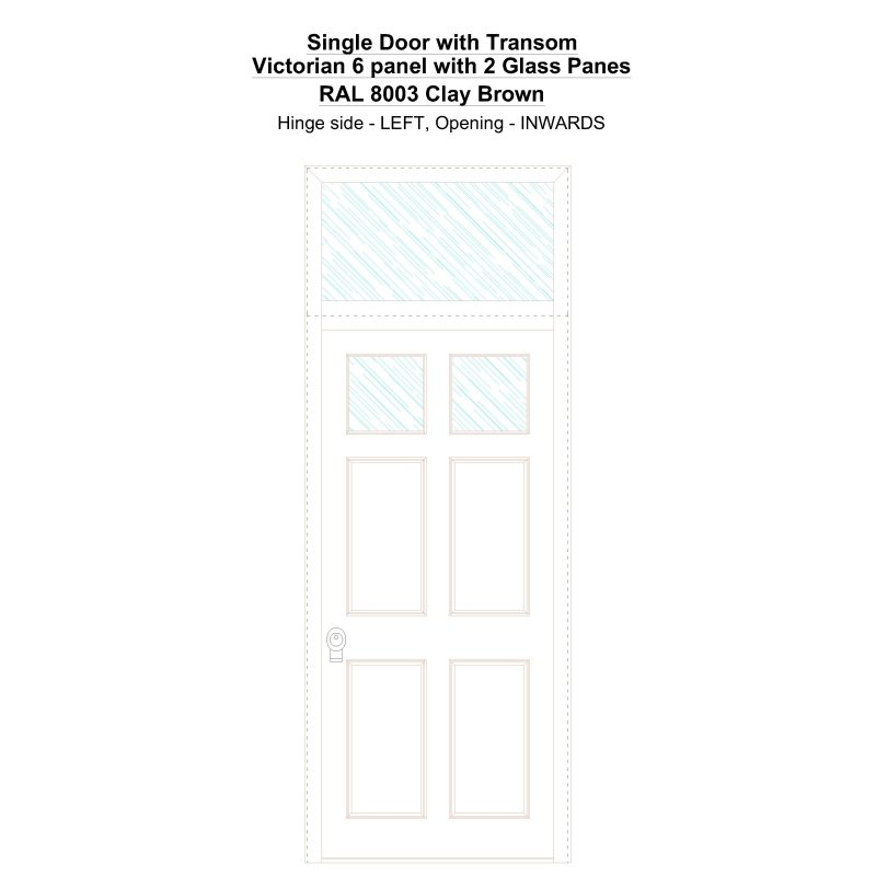 Sdt Victorian 6 Panel With 2 Glass Panes Ral 8003 Clay Brown Security Door