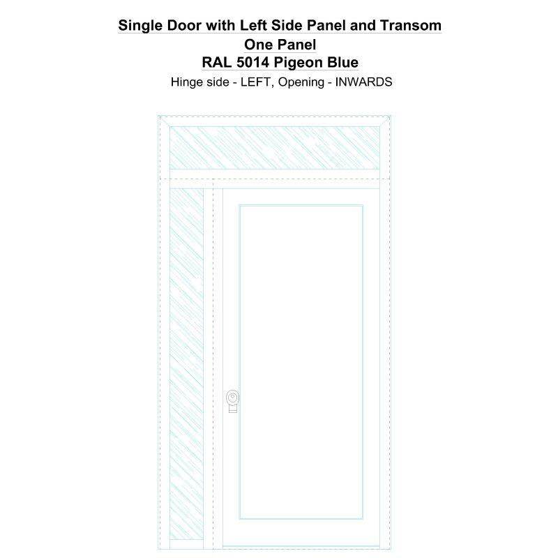 Sdt1spt(left) One Panel Ral 5014 Pigeon Blue Security Door