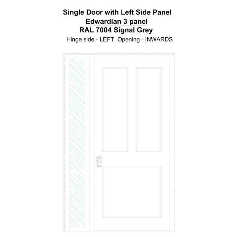 Sdt1sp(left) Edwardian 3 Panel Ral 7004 Signal Grey Security Door
