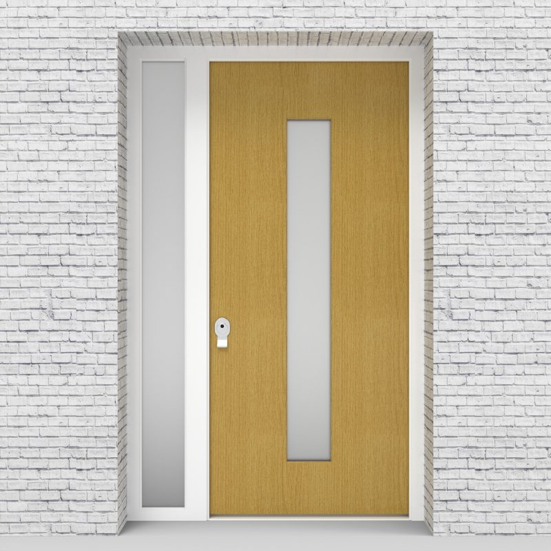1.single Door With Left Side Panel Plain With Central Glass Birch