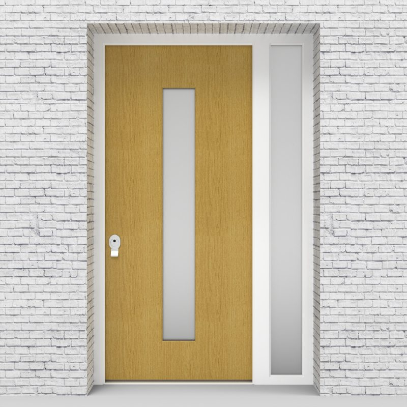 1.single Door With Right Side Panel Plain With Central Glass Birch