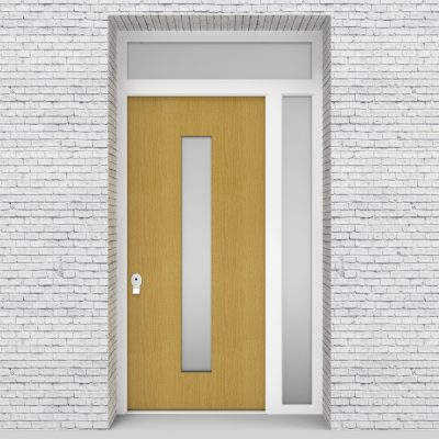1.single Door With Right Side Panel And Transom Plain With Central Glass Birch