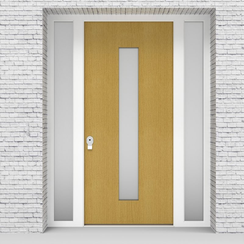 1.single Door With Two Side Panels Plain With Central Glass Birch