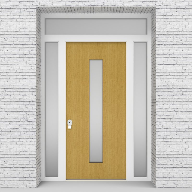 1.single Door With Two Side Panels And Transom Plain With Central Glass Birch