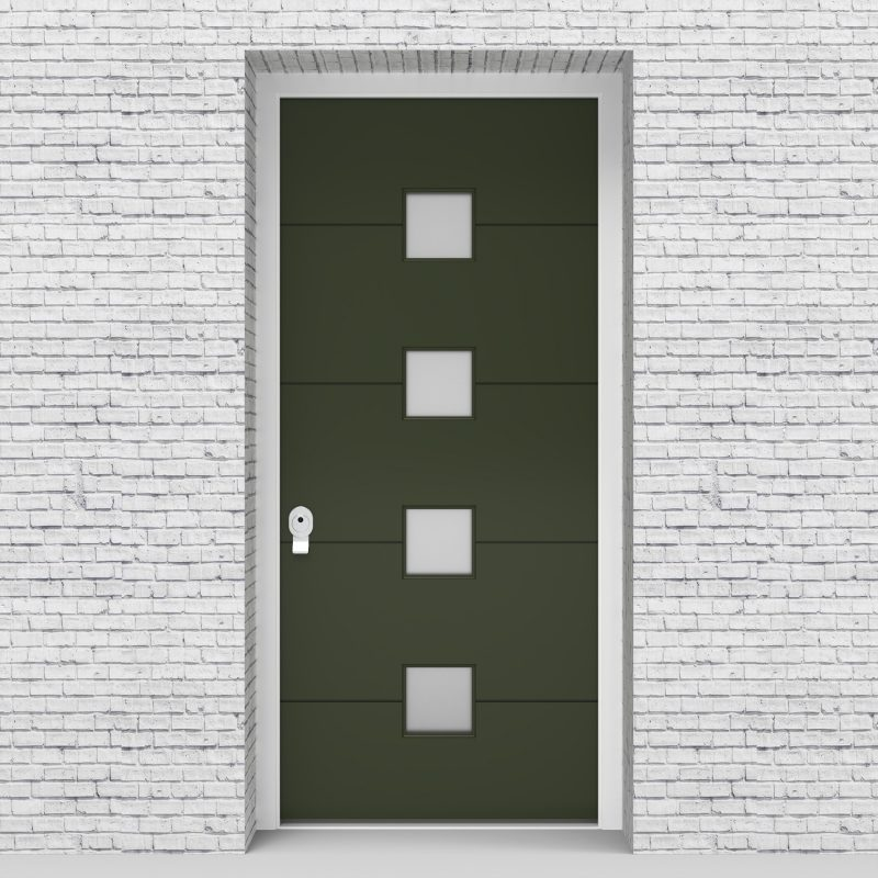 11.single Door 4 Horizontal Lines With 4 Glass Squares Fir Green (ral6009)