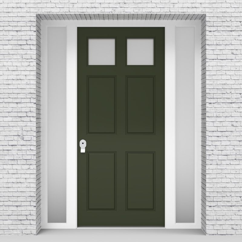 11.single Door With Side Panels Victorian 6 Panel With 2 Glass Panes Fir Green (ral6009)