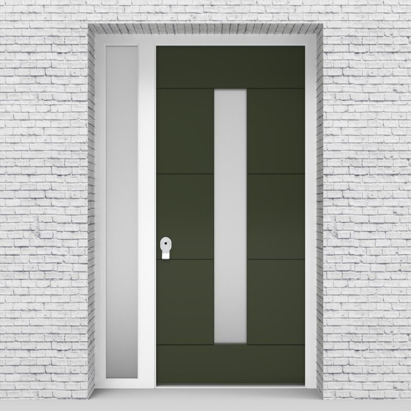 11.single Door With Left Side Panel 4 Horizontal Lines With Central Glass Fir Green (ral6009)