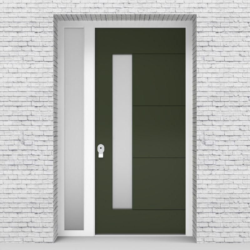 11.single Door With Left Side Panel 4 Horizontal Lines With Lock Side Glass Fir Green (ral6009)