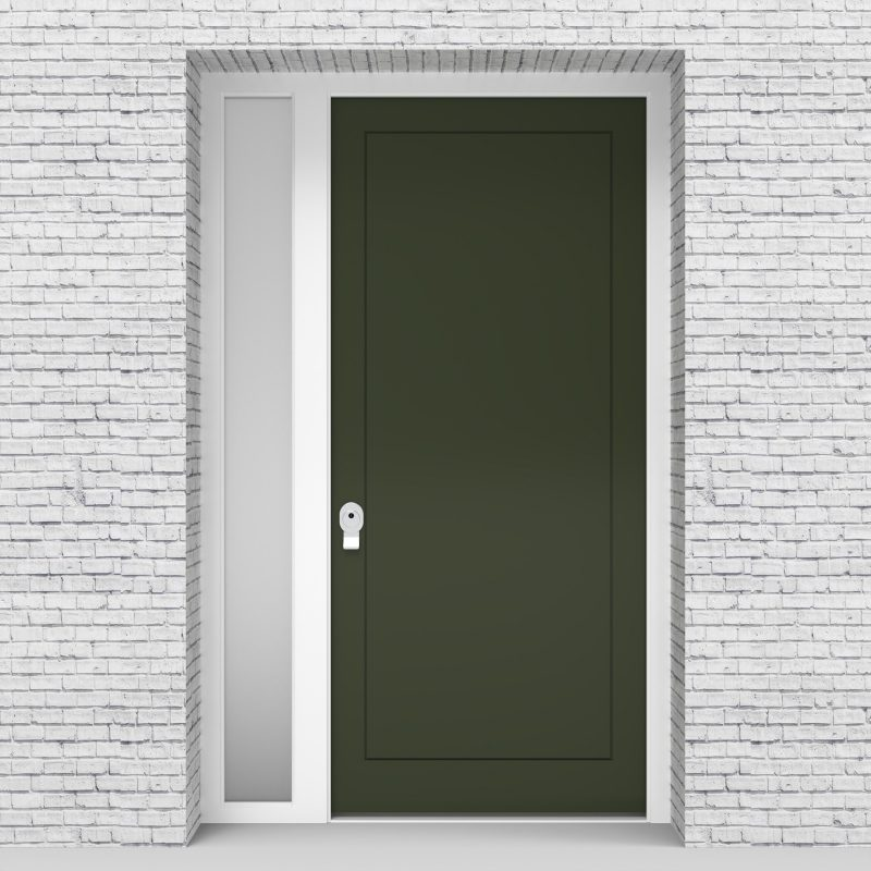 11.single Door With Left Side Panel One Panel Fir Green (ral6009)
