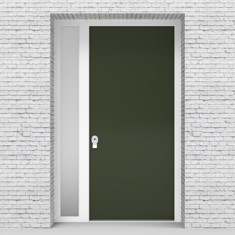 11.single Door With Left Side Panel Plain Fir Green (ral6009)