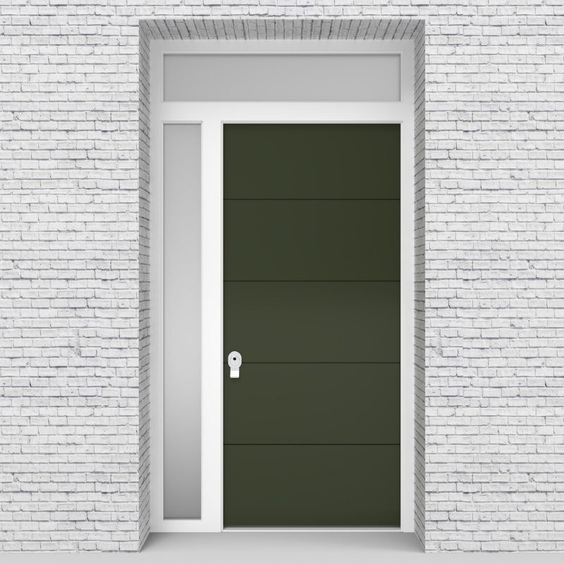 11.single Door With Left Side Panel And Transom 4 Horizontal Lines Fir Green (ral6009)