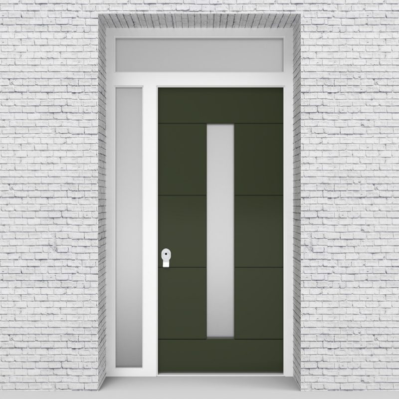 11.single Door With Left Side Panel And Transom 4 Horizontal Lines With Central Glass Fir Green (ral6009)