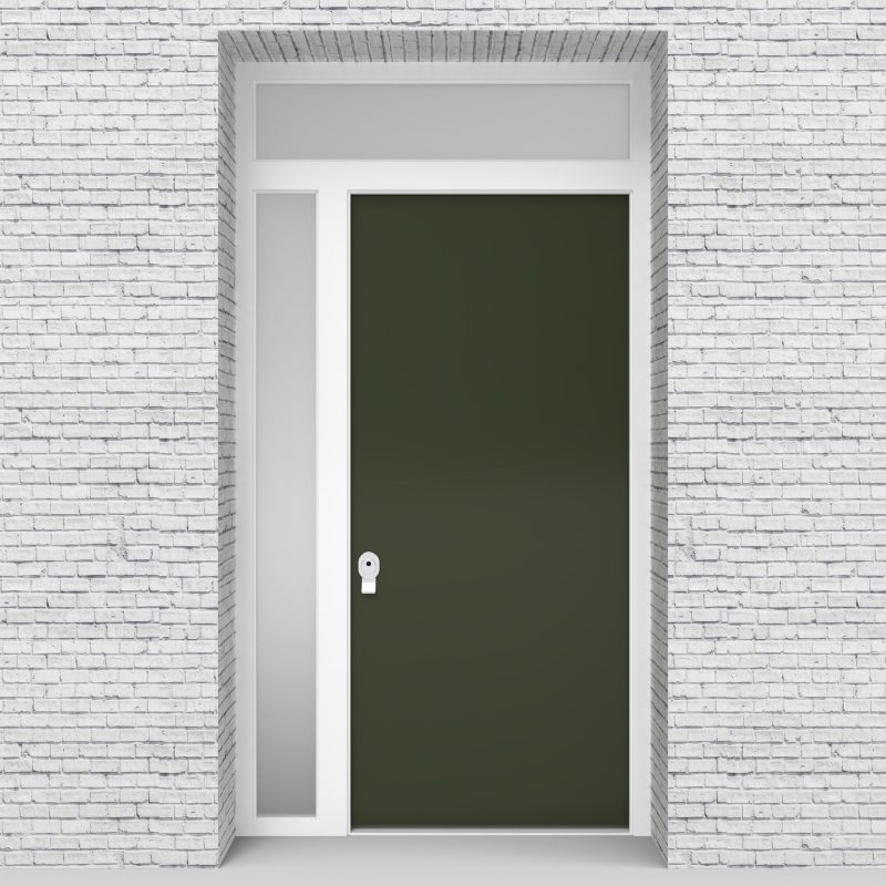 11.single Door With Left Side Panel And Transom Plain Fir Green (ral6009)
