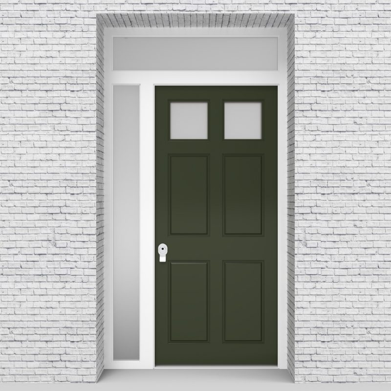 11.single Door With Left Side Panel And Transom Victorian 6 Panel With 2 Glass Panes Fir Green (ral6009)