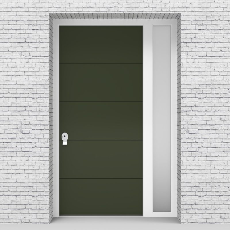 11.single Door With Right Side Panel 4 Horizontal Lines Fir Green (ral6009)