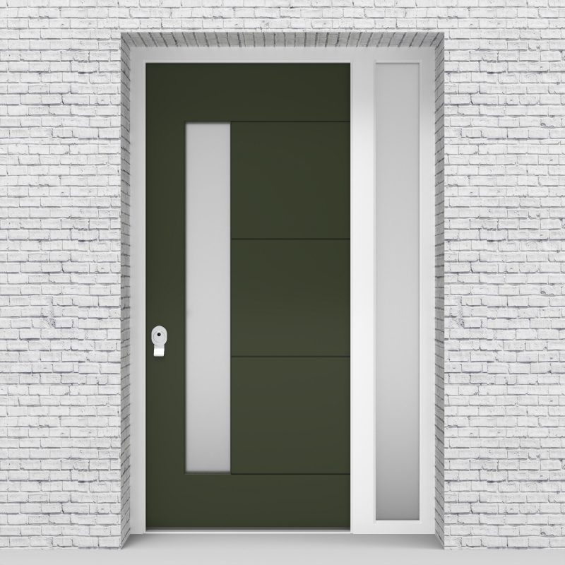 11.single Door With Right Side Panel 4 Horizontal Lines With Lock Side Glass Fir Green (ral6009)