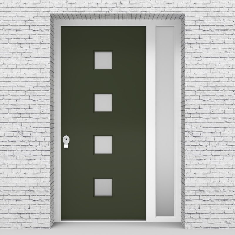 11.single Door With Right Side Panel Plain With 4 Glass Squares Fir Green (ral6009)