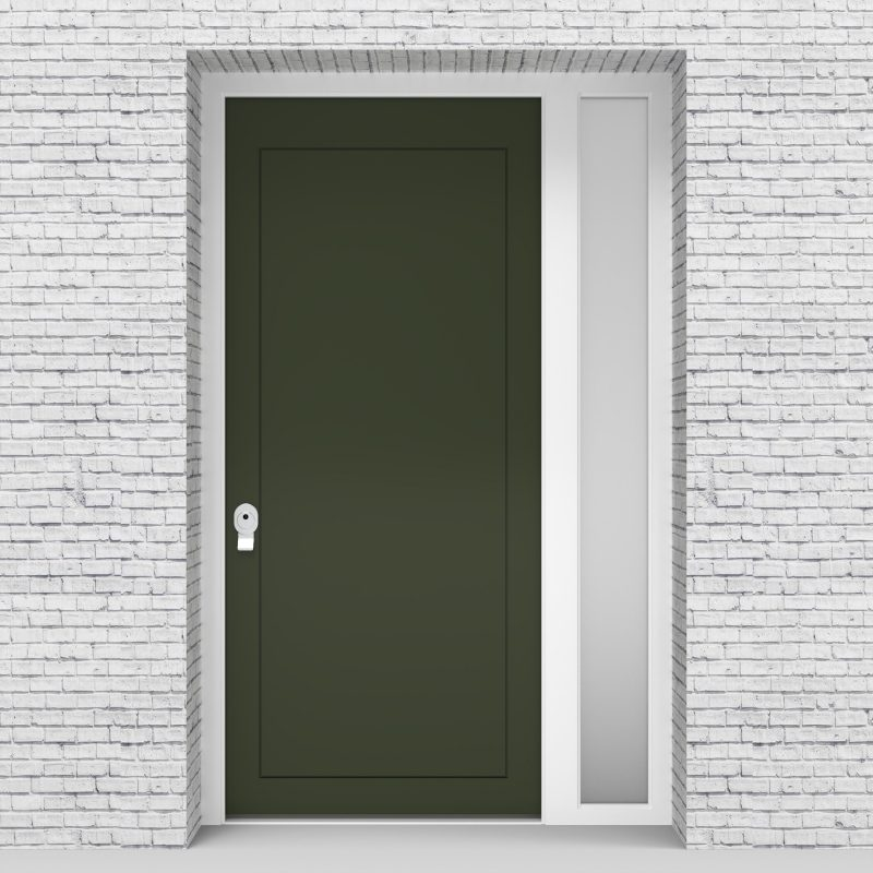 11.single Door With Right Side Panel Plain With Lock Side Glass Fir Green (ral6009)