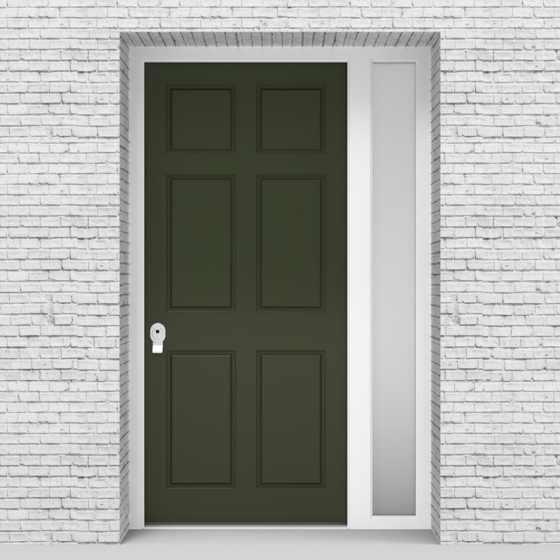 11.single Door With Right Side Panel Victorian 6 Panel Fir Green (ral6009)