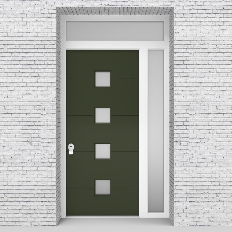 11.single Door With Right Side Panel And Transom 4 Horizontal Lines Fir Green (ral6009)