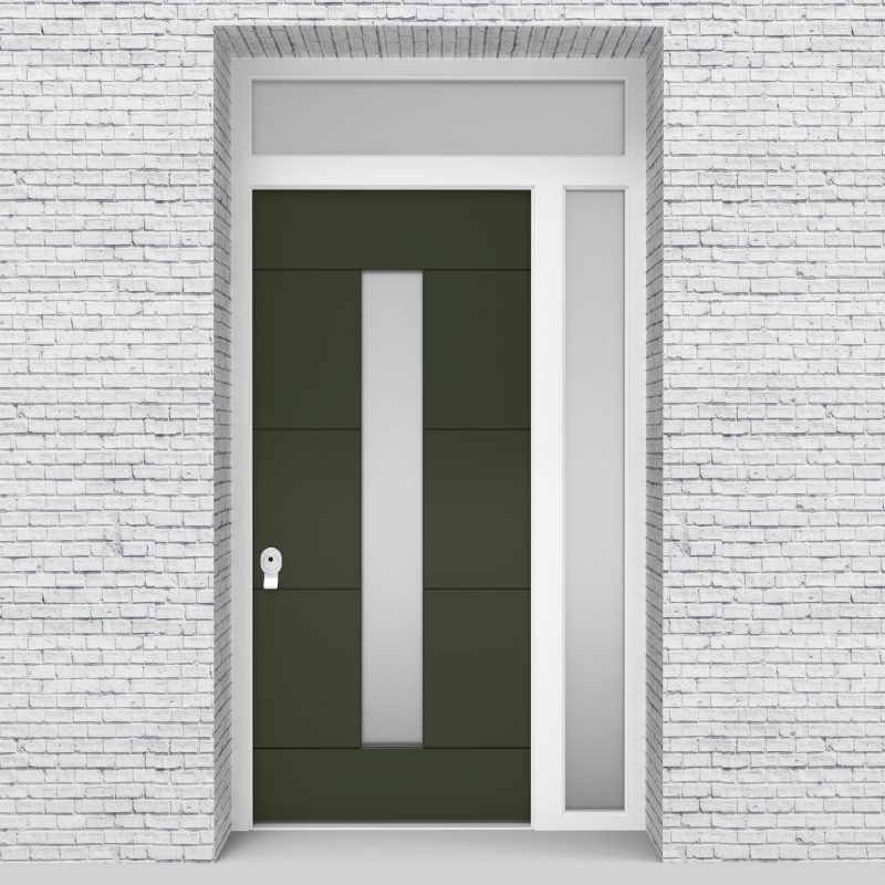 11.single Door With Right Side Panel And Transom 4 Horizontal Lines With Central Glass Fir Green (ral6009)