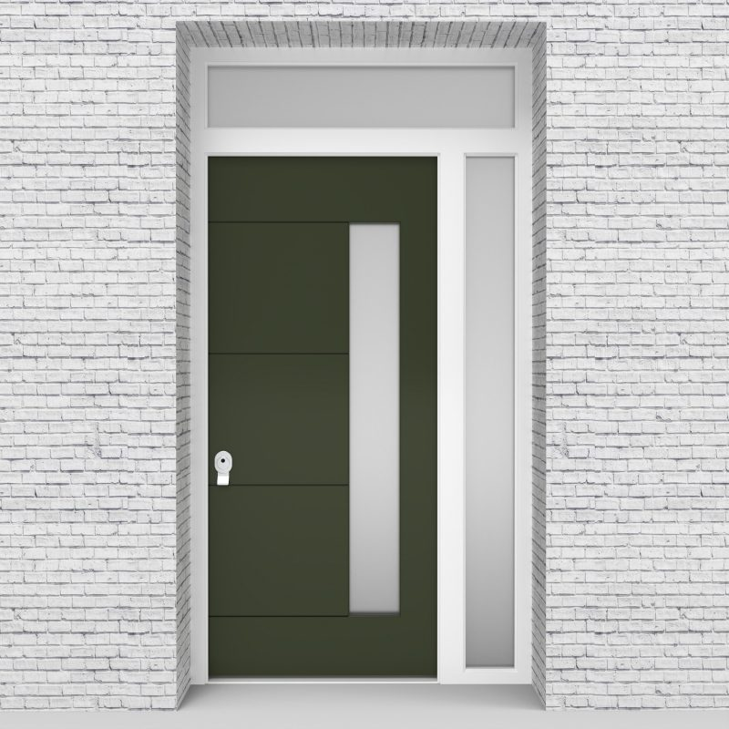 11.single Door With Right Side Panel And Transom 4 Horizontal Lines With Hinge Side Glass Fir Green (ral6009)
