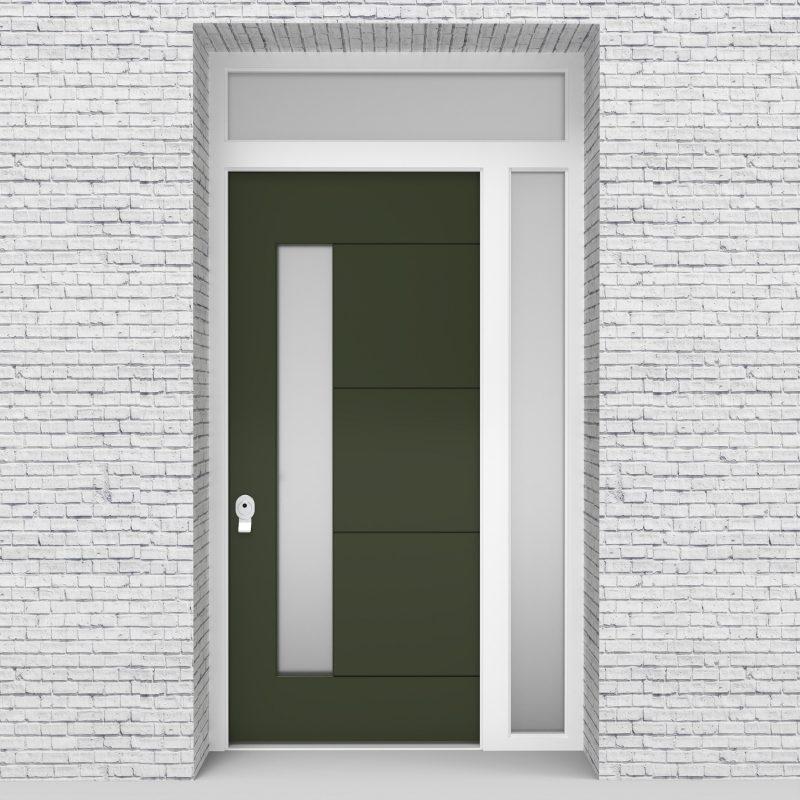 11.single Door With Right Side Panel And Transom 4 Horizontal Lines With Lock Side Glass Fir Green (ral6009)