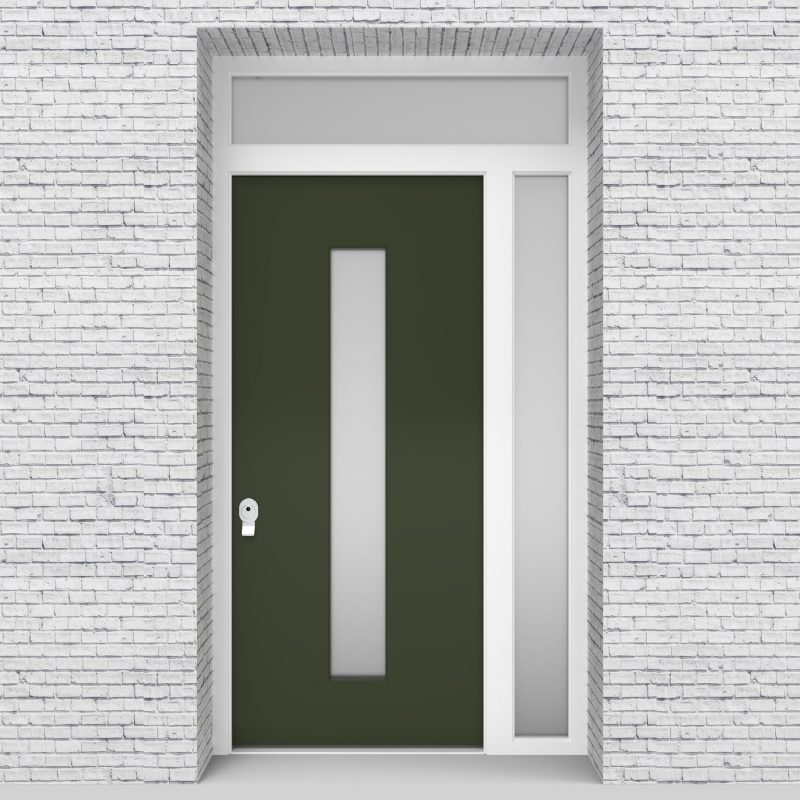 11.single Door With Right Side Panel And Transom Plain With Central Glass Fir Green (ral6009)