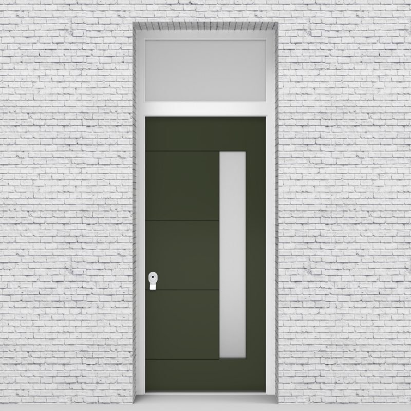 11.single Door With Transom 4 Horizontal Lines With Hinge Side Glass Fir Green (ral6009)