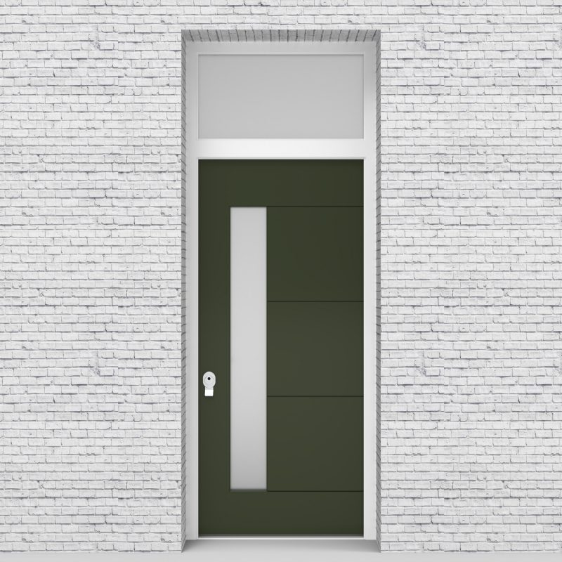 11.single Door With Transom 4 Horizontal Lines With Lock Side Glass Fir Green (ral6009)