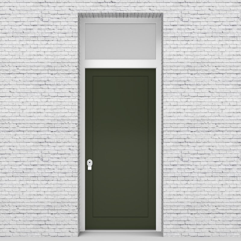 11.single Door With Transom One Panel Fir Green (ral6009)