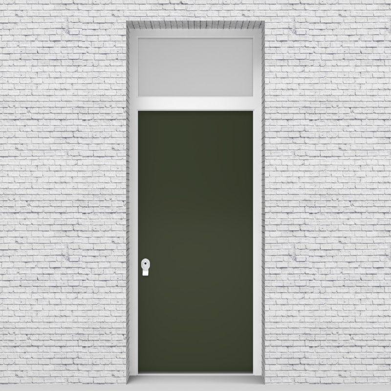 11.single Door With Transom Plain Fir Green (ral6009)
