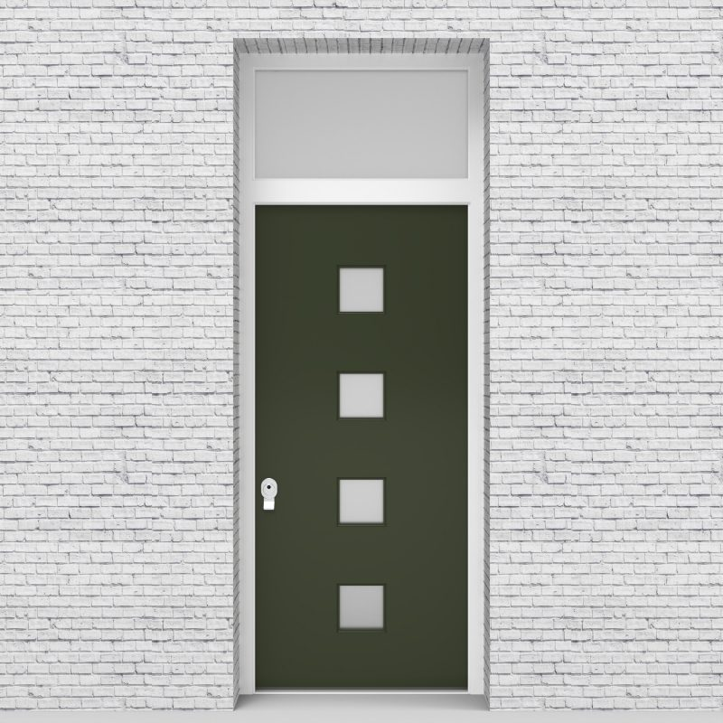 11.single Door With Transom Plain With 4 Glass Squares Fir Green (ral6009)