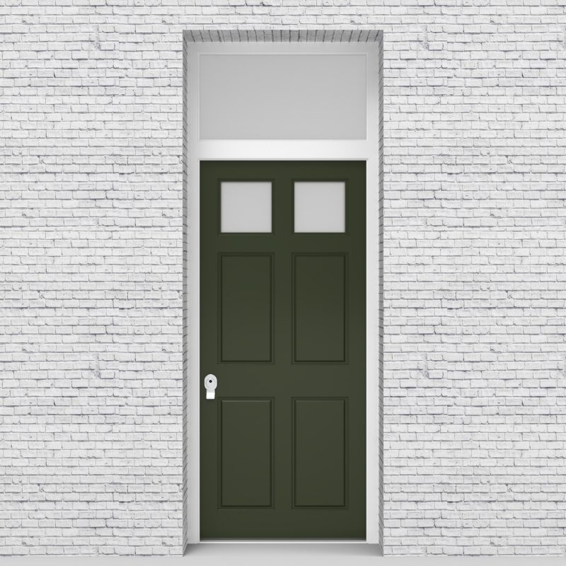 11.single Door With Transom Victorian 6 Panel With 2 Glass Panes Fir Green (ral6009)