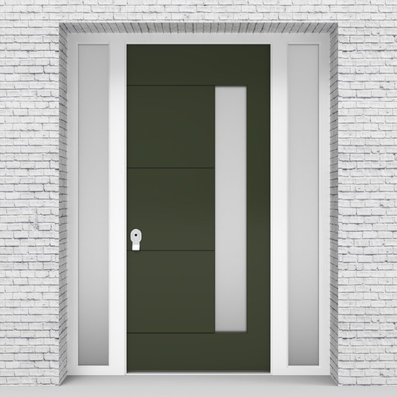 11.single Door With Two Side Panels 4 Horizontal Lines With Hinge Side Glass Fir Green (ral6009)