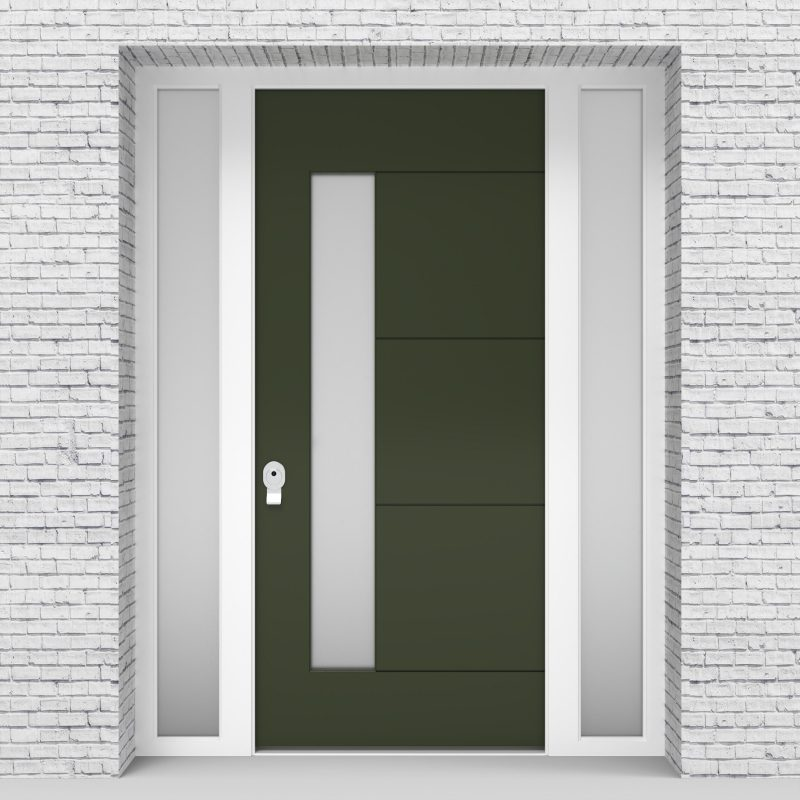 11.single Door With Two Side Panels 4 Horizontal Lines With Lock Side Glass Fir Green (ral6009)