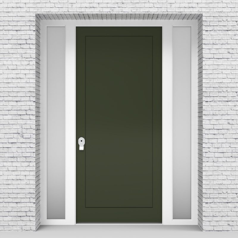 11.single Door With Two Side Panels One Panel Fir Green (ral6009)