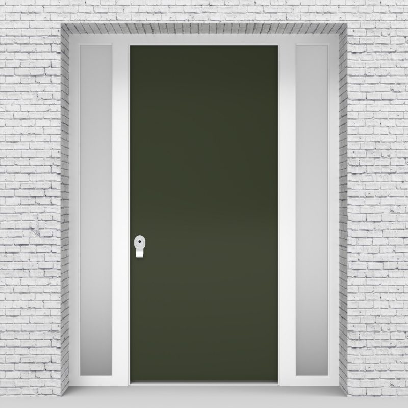 11.single Door With Two Side Panels Plain Fir Green (ral6009)