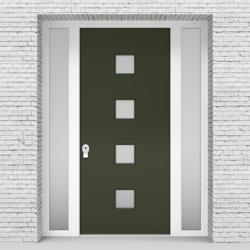 11.single Door With Two Side Panels Plain With 4 Glass Squares Fir Green (ral6009)