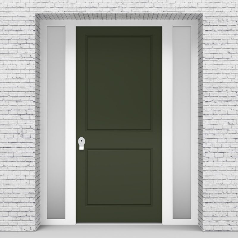 11.single Door With Two Side Panels Two Panel Fir Green (ral6009)