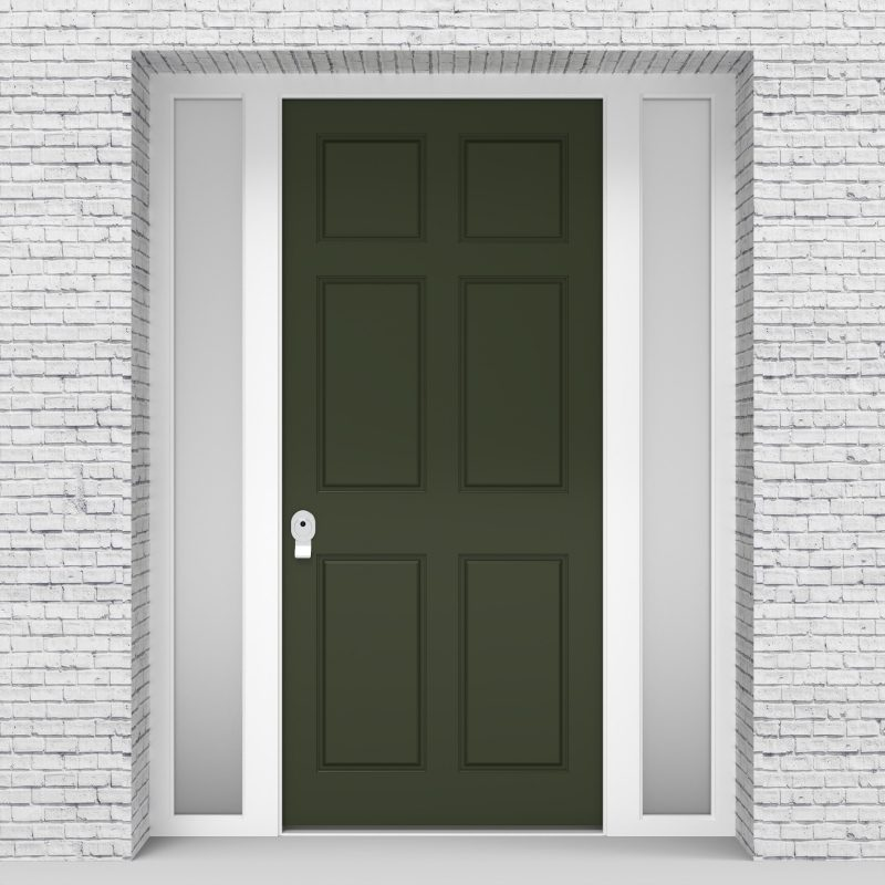 11.single Door With Two Side Panels Victorian 6 Panel Fir Green (ral6009)