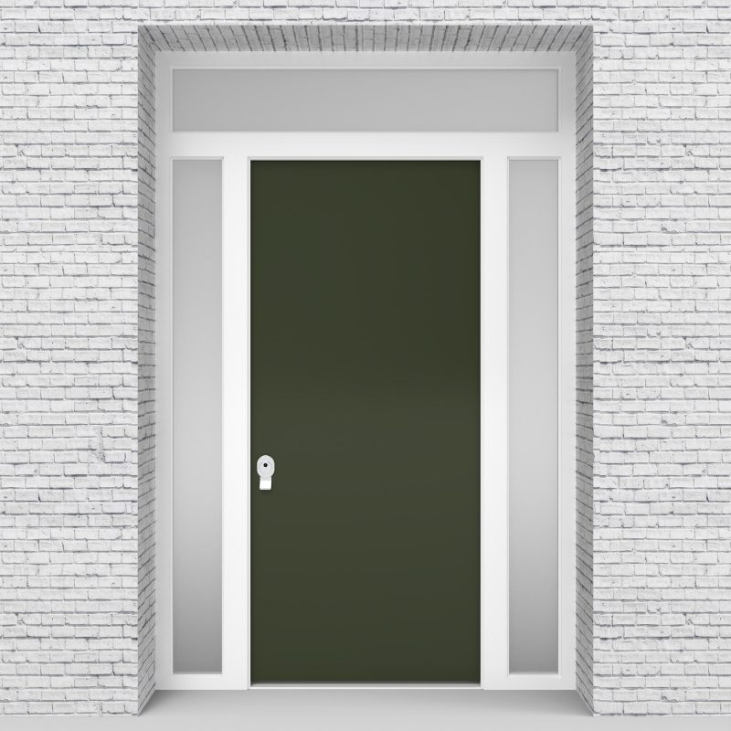 11.single Door With Two Side Panels And Transom Plain Fir Green (ral6009)