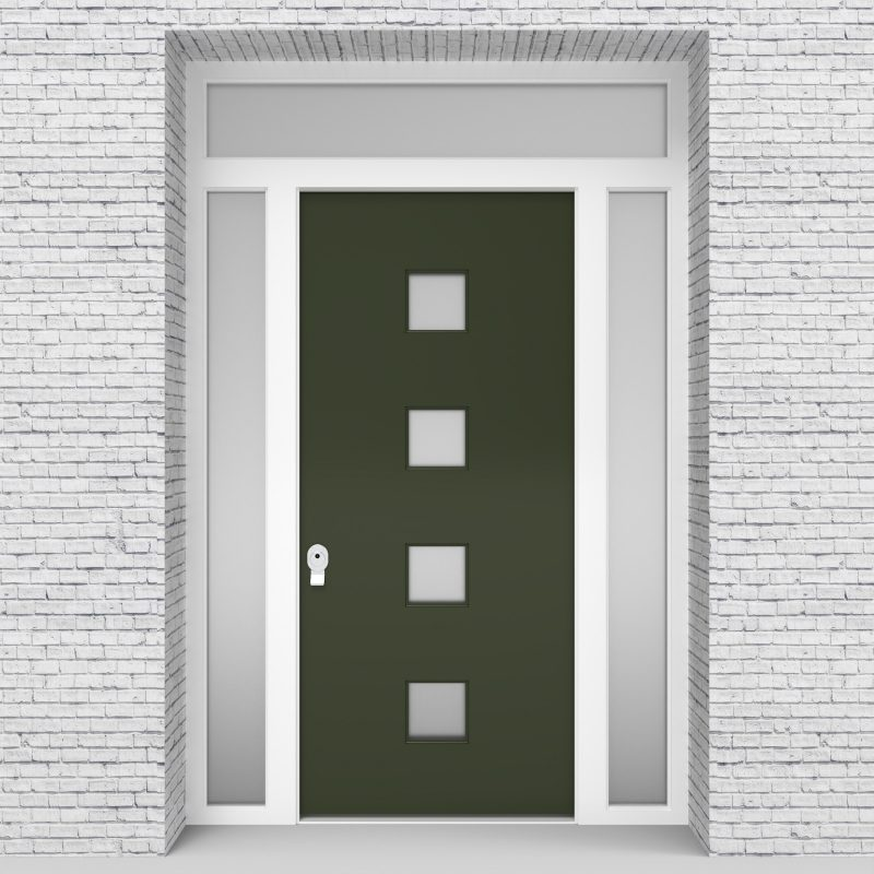 11.single Door With Two Side Panels And Transom Plain With 4 Glass Squares Fir Green (ral6009)