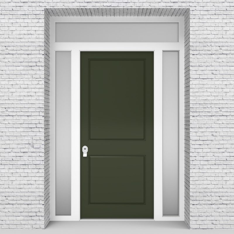 11.single Door With Two Side Panels And Transom Two Panel Fir Green (ral6009)