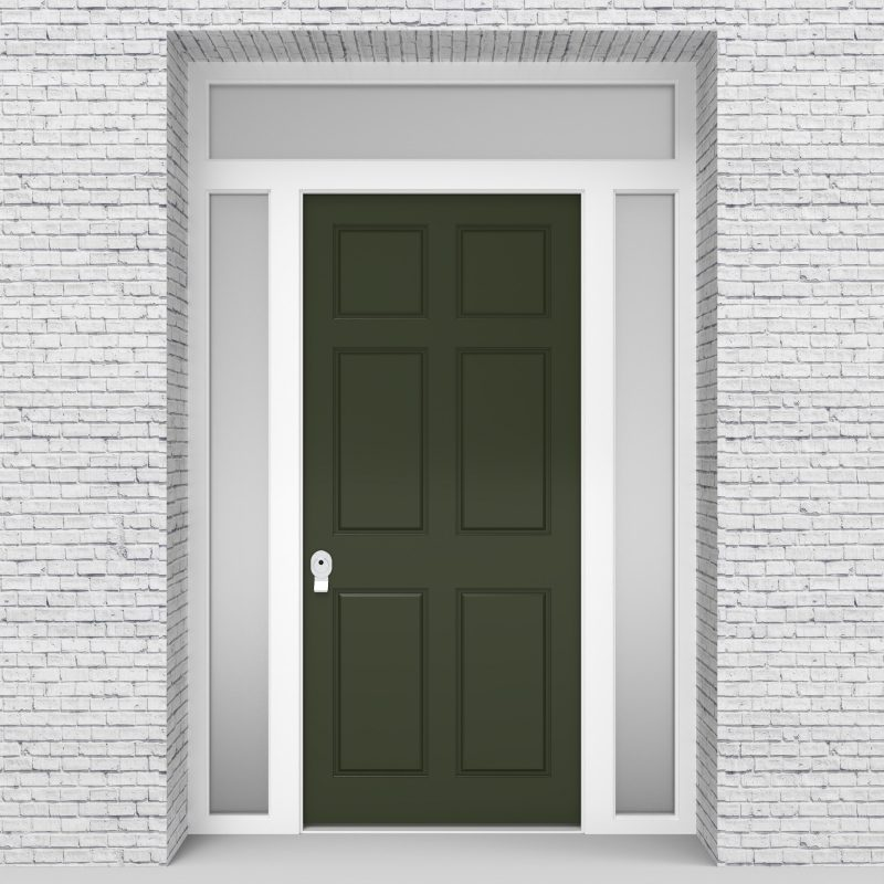 11.single Door With Two Side Panels And Transom Victorian 6 Panel Fir Green (ral6009)