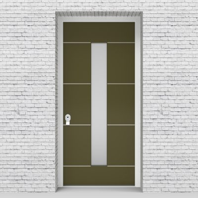 12.single Door 4 Aluminium Inlays With Central Glass Reed Green (ral6013)